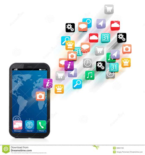 black modern smartphone with application icons on the touch screen smartphone royalty free stock images image