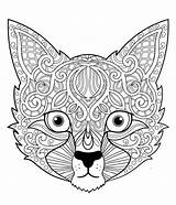Coloring Pages Animal Cat Farm Easy Zentangle Mandala Books Adult Patterns sketch template