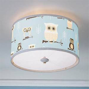 Owls drum shade ceiling light available in colors blue