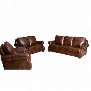 Abbyson karington 3 piece leather sofa set in brown sk for 3 piece brown leather sectional sofa