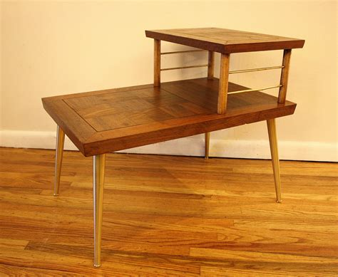 two tier end table mcm parquet two tiered side table 1 picked vintage