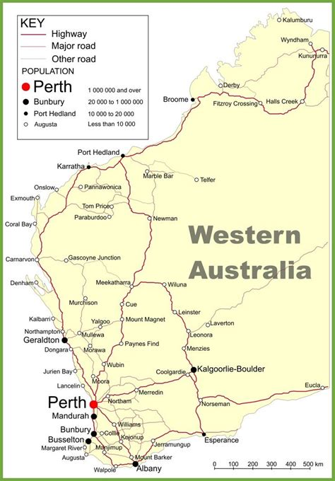 road map  western australia  cities  towns maps
