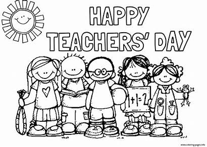 Coloring Teachers Students Pages Happy Printable