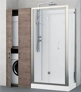 revolution de novellini douche et rangement associes With porte de douche coulissante avec profondeur meuble salle de bain standard