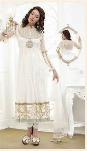 White Full Sleeve Jacquard Long anarkali Suit 18664