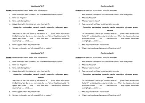 Summary Questions For A Lesson Or Topic On Continental Drift And Plate Tectonics By