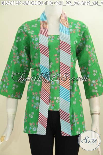 jual baju batik blus kartini warna hijau desain