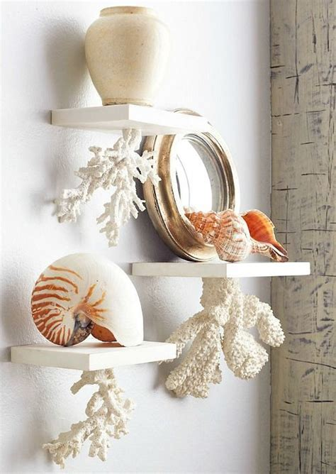 decorative floating coral shelves beach wall decor