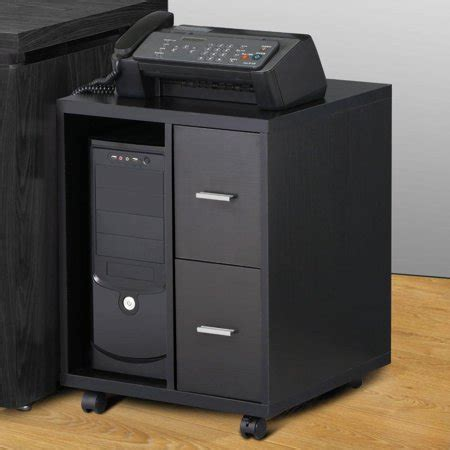 Storage Drawers On Casters by Yaheetech Black Computer Cpu Stand Cabinet With 2 Storage