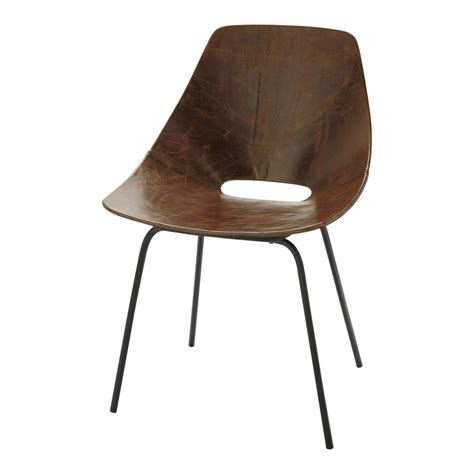 leather and metal guariche tonneau chair in brown amsterdam maisons du monde