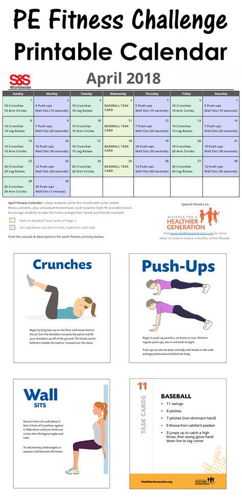 april printable fitness challenge calendar physical