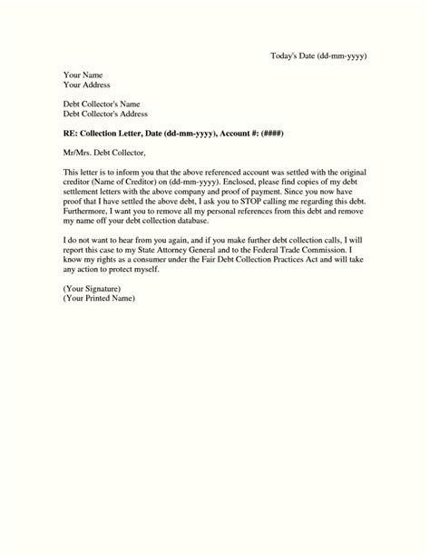 debt settlement letter sample template updatecom