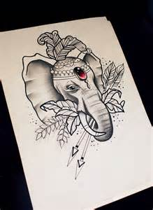Neo Traditional Elephant Tattoo