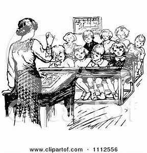 Clipart Retro Black And White Teacher Speaking In Front Of ...