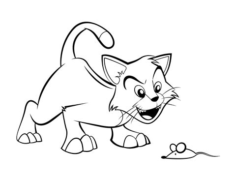 Cartoon Cat Coloring Skinny Pages Ikids Grig3org