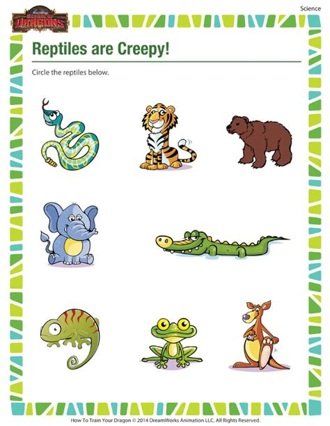 reptiles are creepy kindergarten science worksheet on