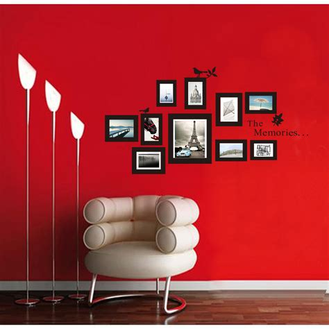 stickers deco chambre 10x picture photo frame wall mural black frames sticker
