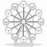Reuzenrad Wheel Ferris Coloring Het Tekening Vector Boek Kleuren Voor sketch template