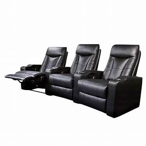 coaster pavillion 3 theater seats chairs in black leather With coaster furniture home theater seating