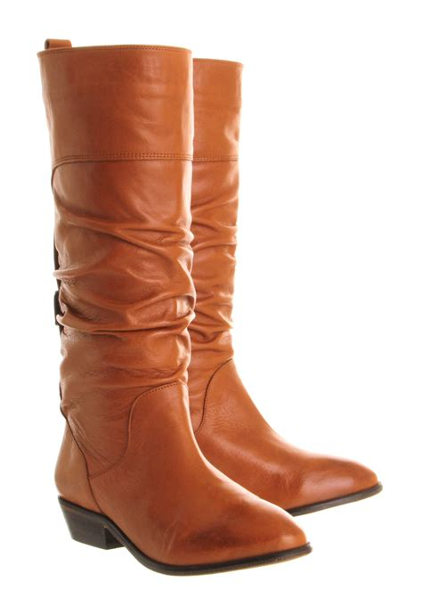 office ace slouch boots tan leather knee boots