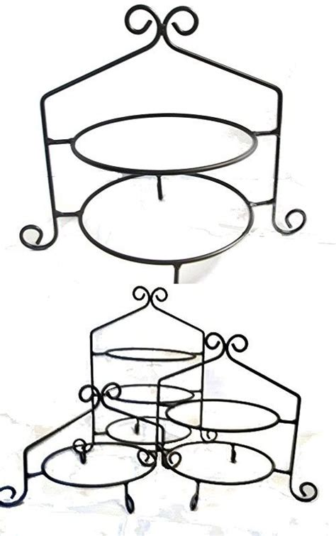 wrought iron pie standrack double tier hand  plate racks hand wrought rod iron