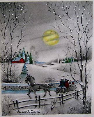 vintage christmas card homeward bound moon people winter