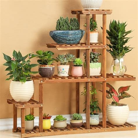 Plant Etagere Outdoor by Wood 4 Tier Flower Pot Racks Home Garden Decor Etagere