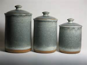 kitchen canisters ceramic pottery canister set in grey blue