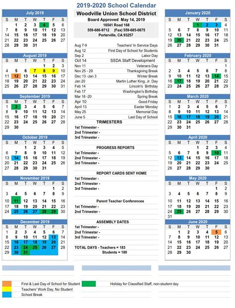 school calendar woodville union school district