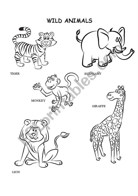 Coloring Worksheets For by Animals Coloring Esl Worksheet By Kalaquendi
