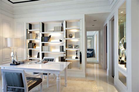 Wondrous Corner White Home Office Design With Single White