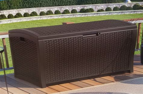 suncast 73 gal deck box suncast resin wicker deck box 73 gallon home design ideas