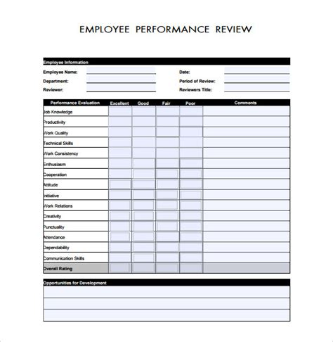 review template 9 employee performance review templates sle templates
