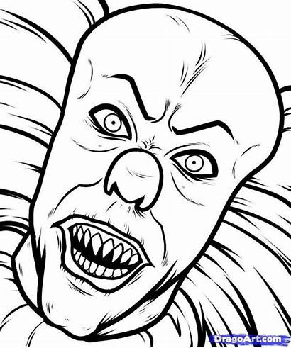 Scary Clown Coloring Drawings Drawing Pages Clowns