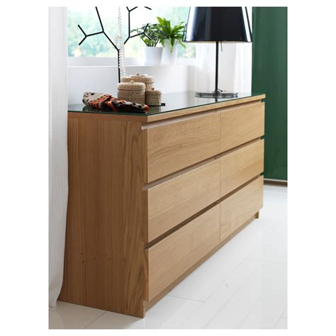 malm chest of 6 drawers oak veneer 160x78 cm ikea