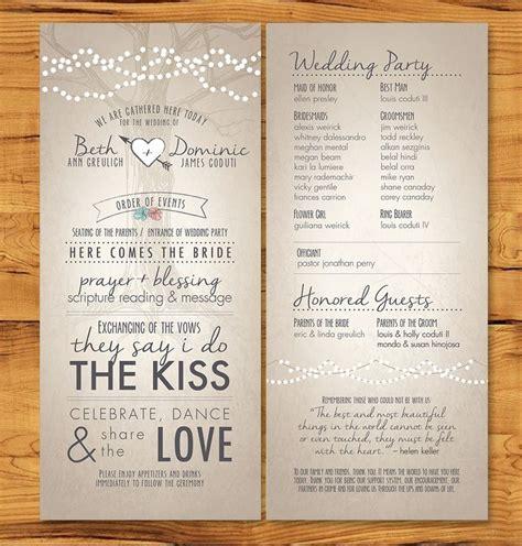 non traditional wedding reception program ideas wedding programs with non tradition ceremony description designs by me
