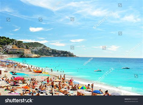 View Beach Nice France Near Promenade Stock Photo 95055031