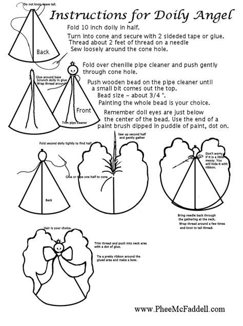 doily angel instructions black  white coloring