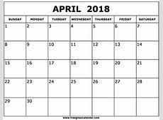 2018 áprilisi naptár Printable 2018 calendar Free