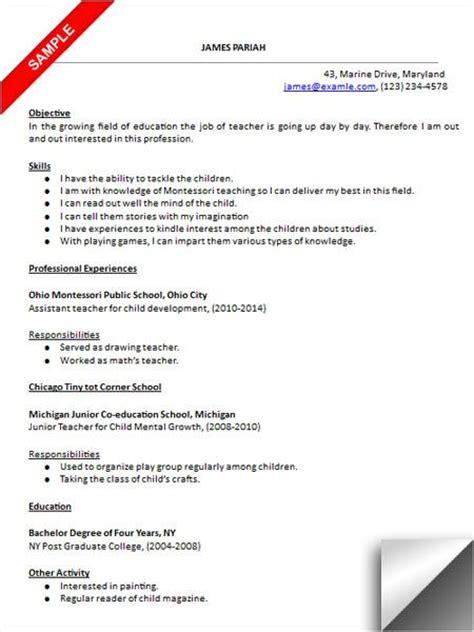 preschool resume sle resume exles