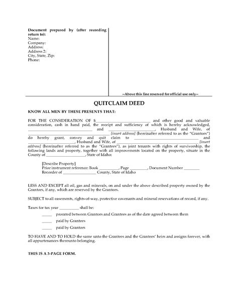 idaho quitclaim deed  joint ownership legal forms