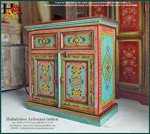 buffet indien peint jn9 cav39 meubles indiens artisanat With meuble indien