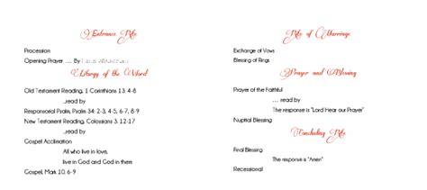 non mass catholic wedding program template needed weddingbee