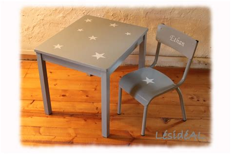 table et chaise bebe ensemble table bureau et chaise enfant étoile vintage gris