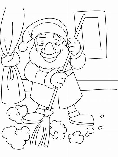 Coloring Clean Pages Dwarf Sweeper Drawing Template
