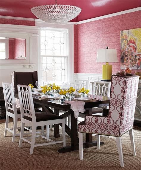 Pink and Brown Dining Room with Glossy Pink Ceiling