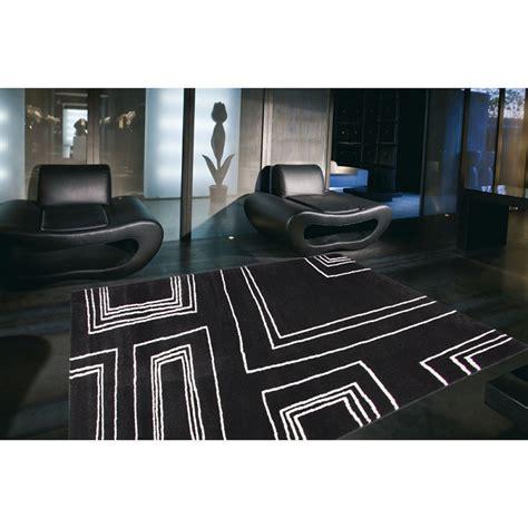 tapis moderne noir et blanc arizona 60x110