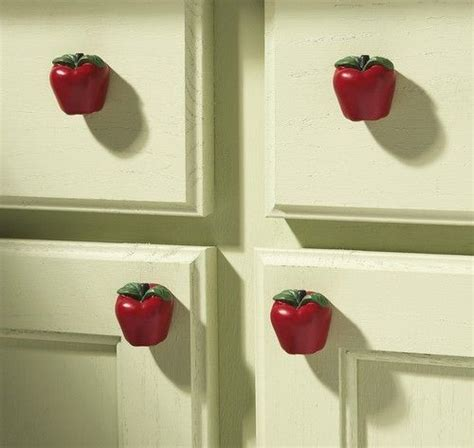 country apple decor kitchen drawer pulls set