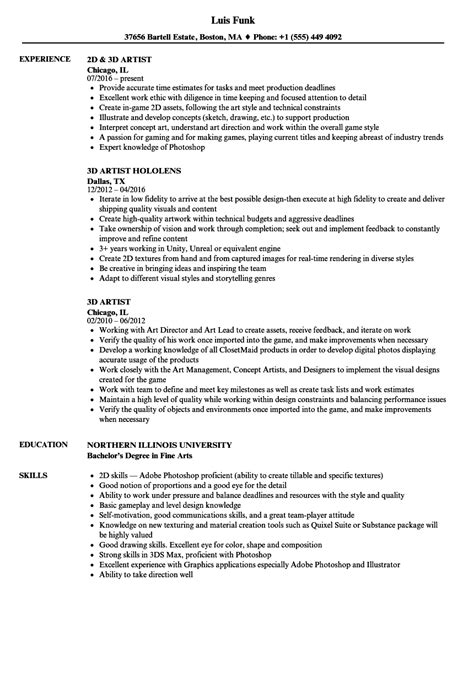 Artist Resume Format by Cv Template 3d Artist Resume Format
