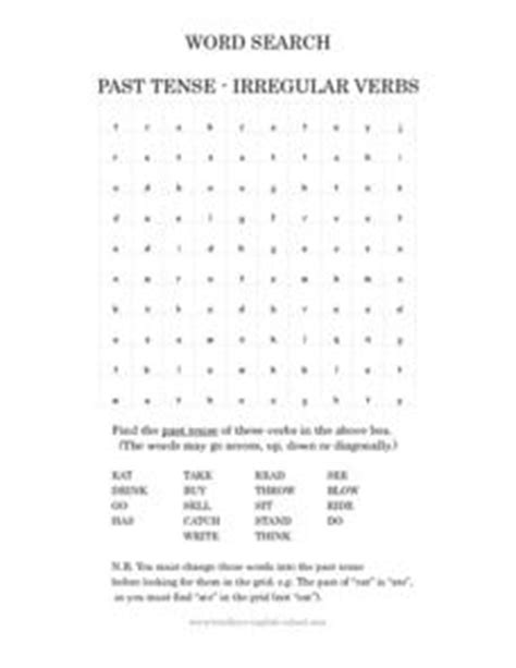 past tense irregular verbs word search 1st 2nd grade worksheet lesson planet